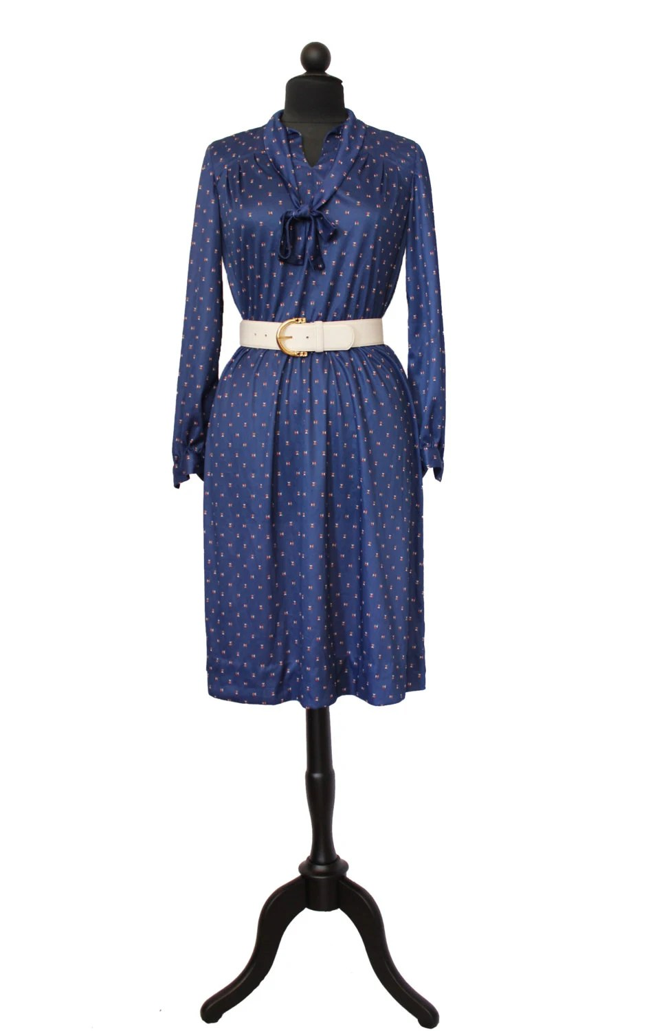 Bulk Snap Jewelry Secretary Dress Vintage Navy Blue Long Sleeved Dress