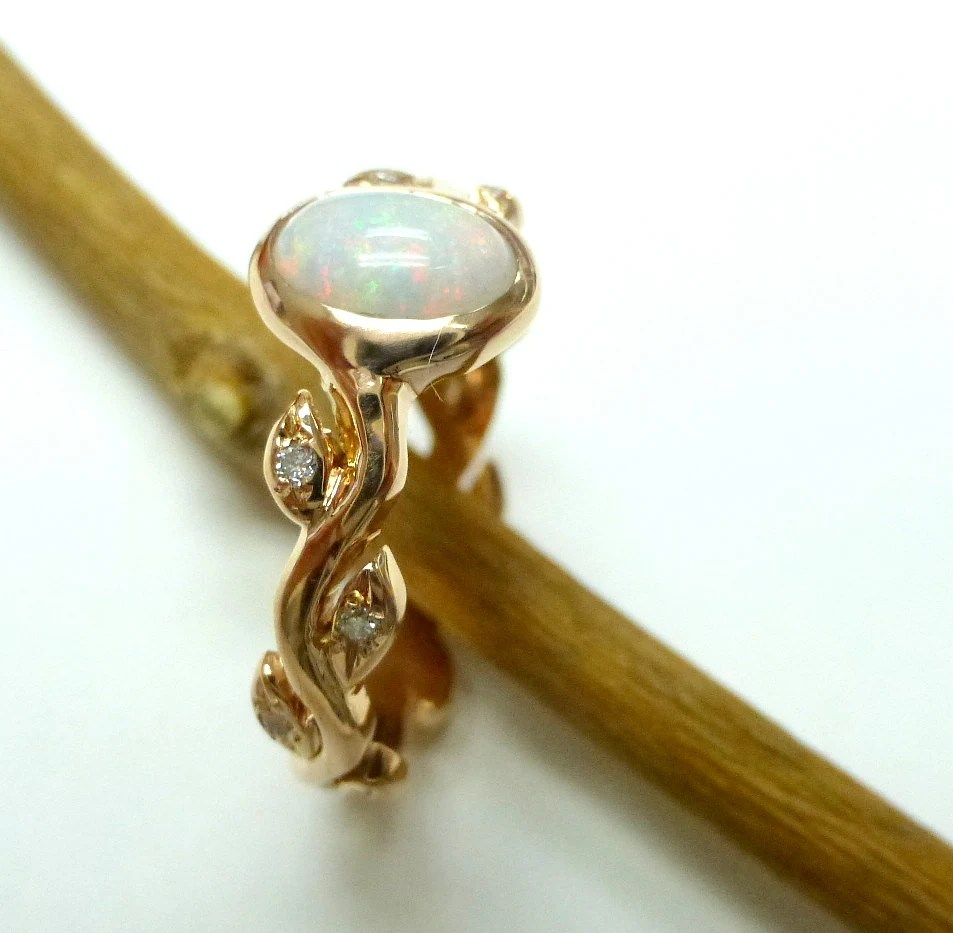 opal diamond ring opal wedding ring sets Opal engagement ring Opal diamond ring 14k yellow gold leaf ring with opal