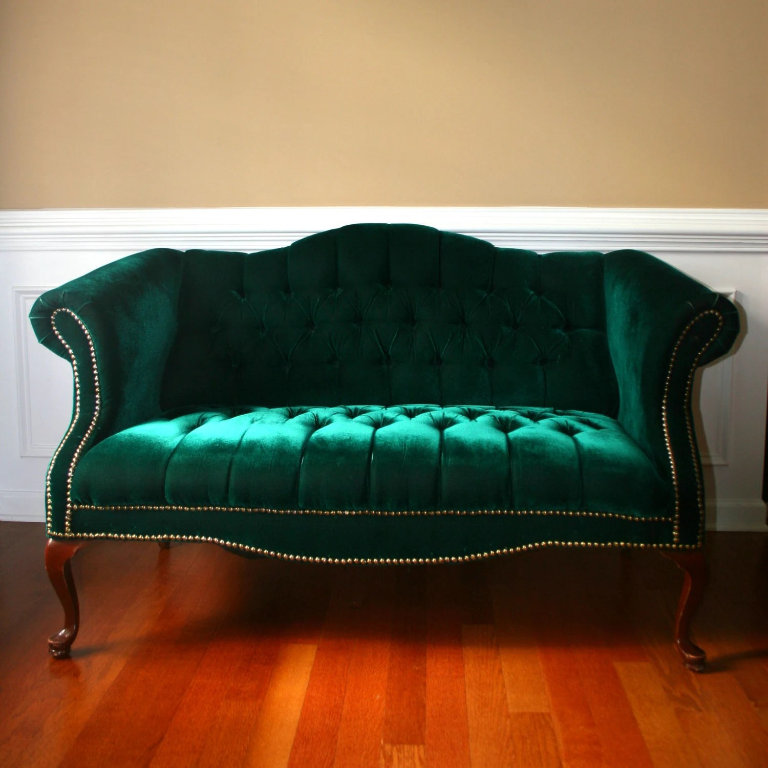 Green Settee Reserved For Michael Emerald Chesterfield Love Seat Settee