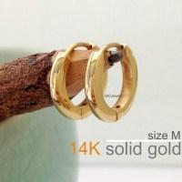 Men's Earrings 14K Real Solid Yellow Gold Mens Earrings