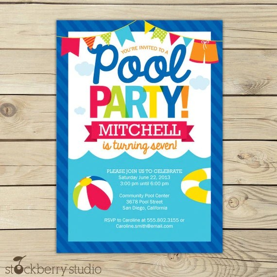 Pool Party Birthday Invitation Printable - Pool Party - Beach Party