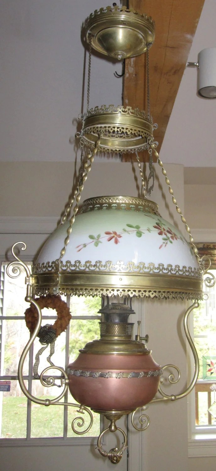 Antique Victorian Bradley And Hubbard Hanging Oil Lamp - Lantern Chandelier