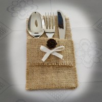 Burlap Silverware Holders with pine cone and white ribbon SET