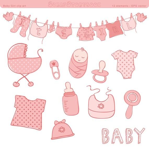 Baby Girl Nursery Wallpaper Borders Baby Shower Clip Art Girl Eps Vector File Pastel Pink