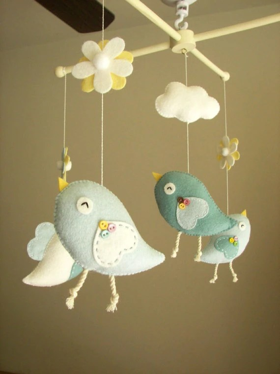 Baby Crib Mobile Bird Mobile Felt Mobile Nursery Mobile