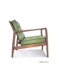 Mid Century Modern Danish Teak Chair Drawing Spring Green