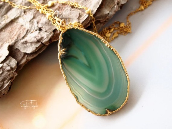 Sale Christmas in July -Green Apple - Green Agate Slice Necklace, Geode Druzy Necklace - OOAK