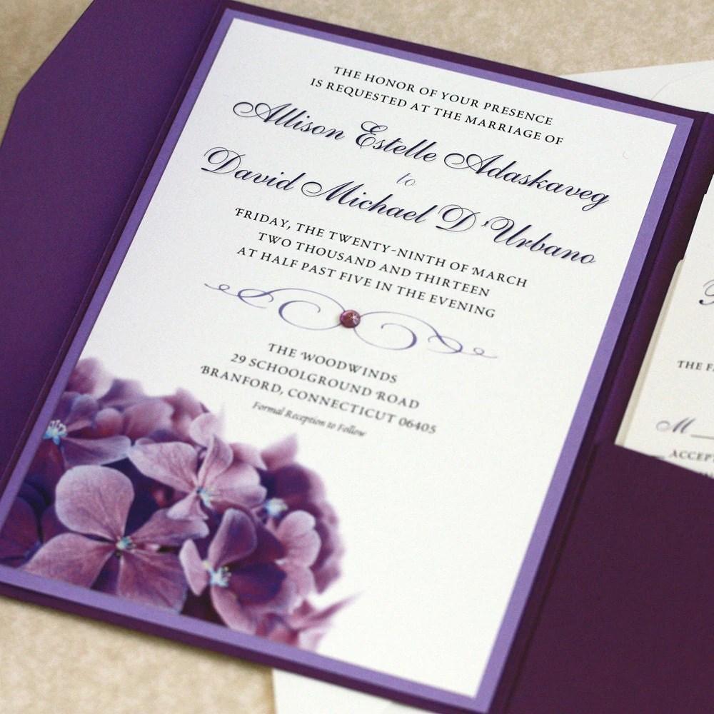 purple hydrangea wedding invitation sample wedding invitation Purple Hydrangea Wedding Invitation SAMPLE zoom