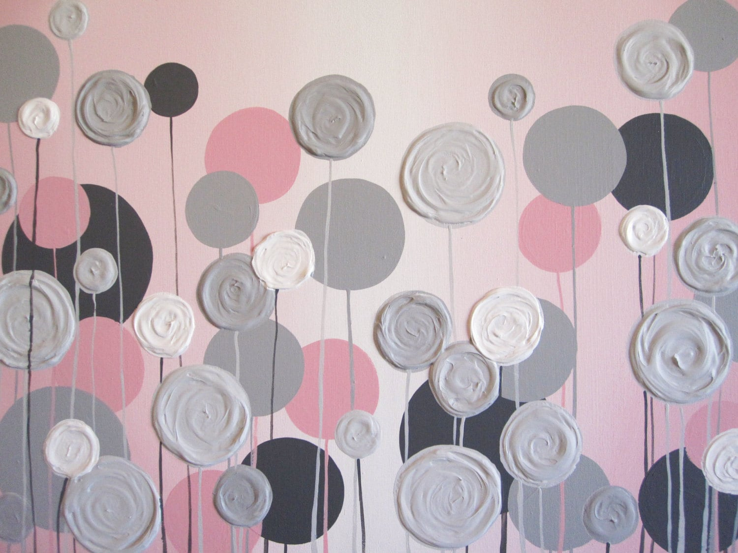 Grey And Pink Nursery Wall Art Pink With Grey Textured Flowers Acrylic
