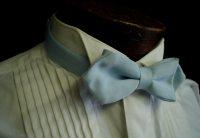 80s Mens Matte Satin Powder Blue Bow Tie