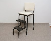 Vintage Cosco Kitchen Chair / Step Stool Black and White
