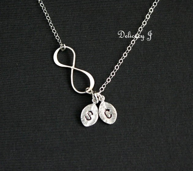 Infinity Necklace Personalized Initial Leaf Charm By Delicacyj