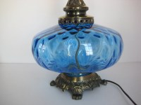 Vintage blue glass table lamp large glass lamp hollywood