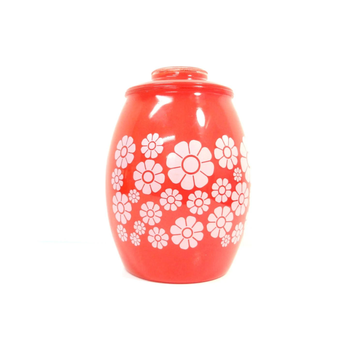 Modern Cookie Jar Rare Vintage Retro Flowers Red Glass Cookie Jar Canister By