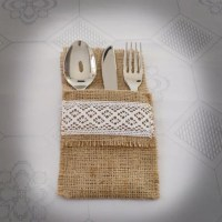 Burlap Cutlery Holders Rustic Flatware Holder Lace