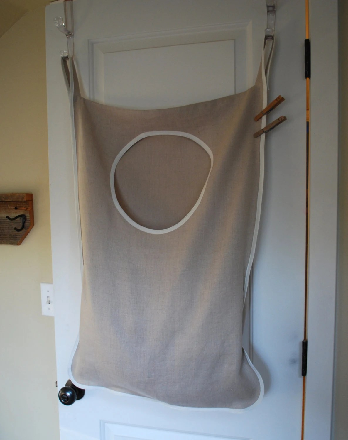 Closed Laundry Hamper Laundry Bag Hamper Hanging Natural Linen By Redcheckmarket