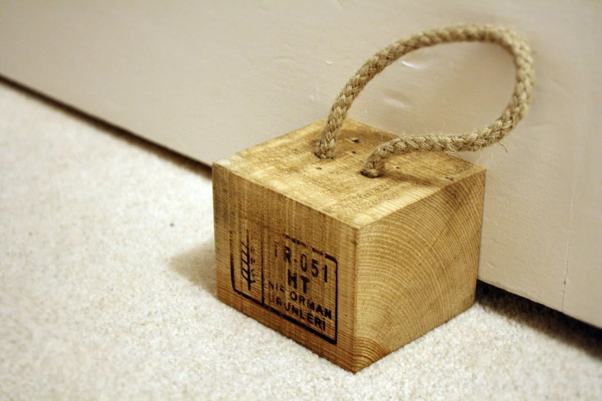 Rustic Door Stopper Reclaimed Wood Rustic Door Stop Paperweight With Sash Rope