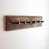 Rustic coat rack wall hanger with 6 railroad by ...