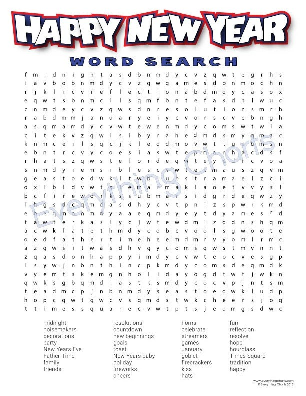 happy new year word search - Selol-ink