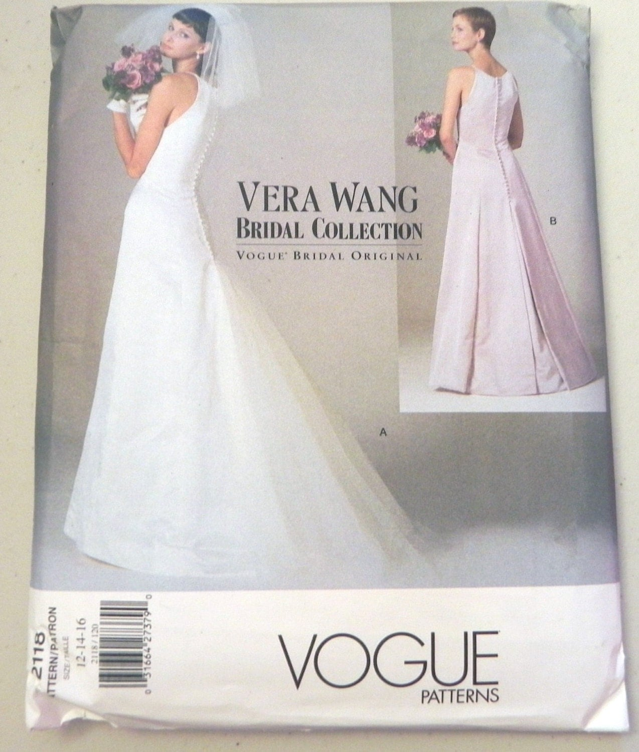 wedding gown pattern simplicity wedding dress patterns Vera Wang wedding dress bridal gown fitted bodice sleeveless Plus Size sewing pattern Vogue Size 18 20 22 Bust 40 42 44 UNCUT FF