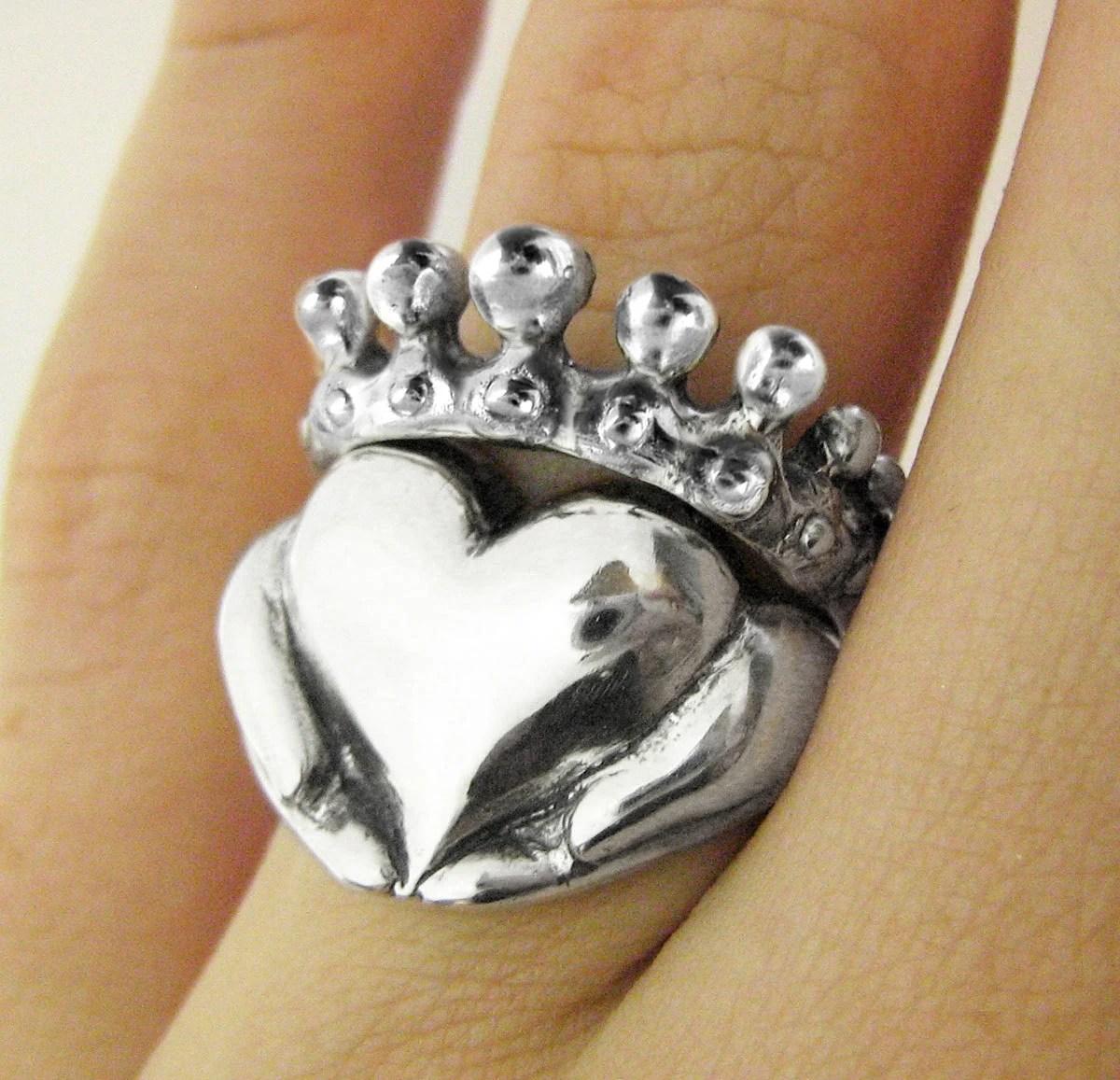 claddagh stacking rings alternative non traditional wedding rings Claddagh Stacking Rings Alternative Stacking Engagement Ring Non Traditional Wedding Ring Set for her Celtic Irsih Promise Ring 67 81b