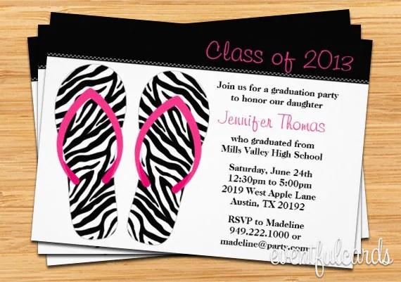 Flip Flops Class of 2017 High School/College Graduation Card - Print
