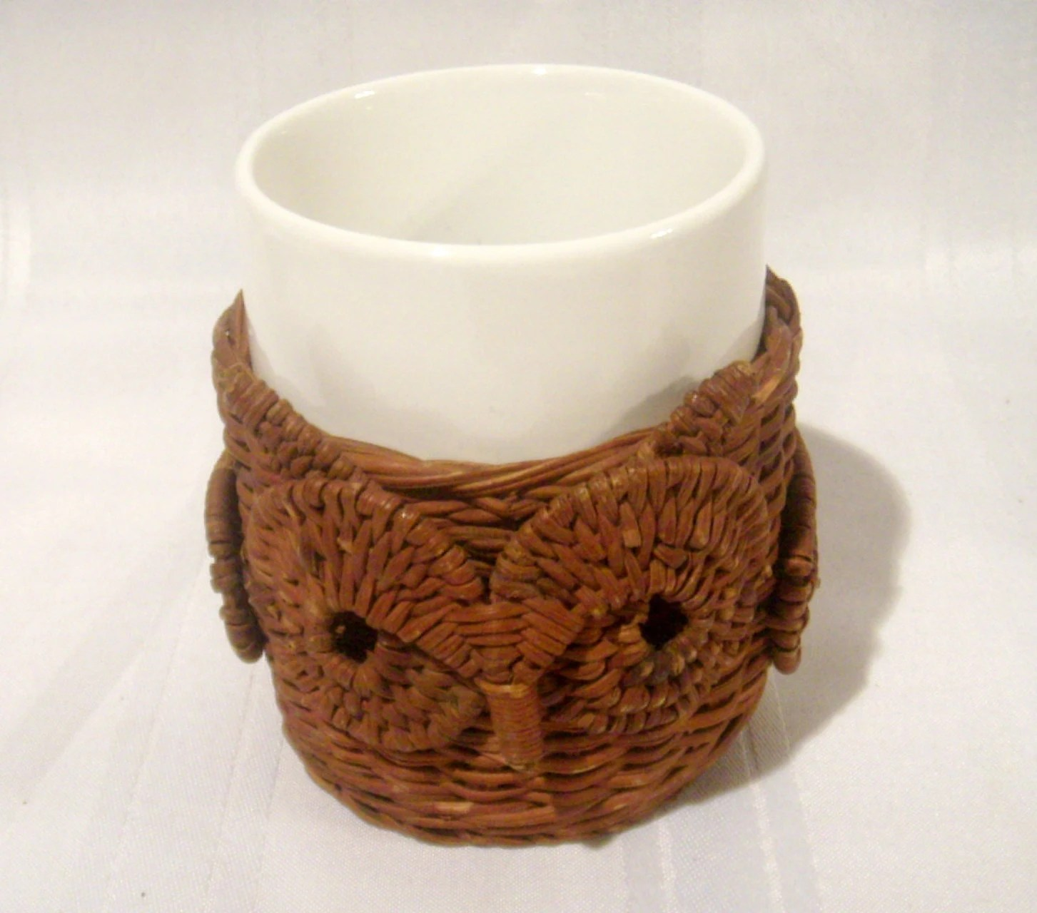 Owl Ceramic Mug Avon Owl Mug 1980s Wicker And Ceramic 2 Piece Mug Wicker
