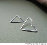 Triangle Earring for Men Unisex Sterling Silver Ear