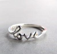 Cursive Love Ring in Sterling Silver Silver Love Ring