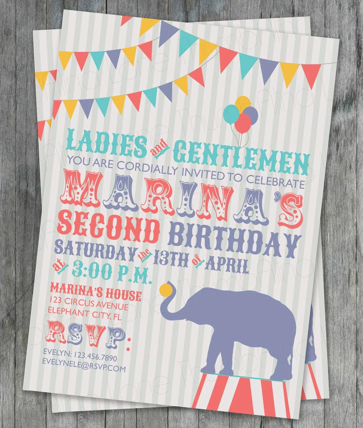Carnival Circus Printable Invitation Elephant Birthday