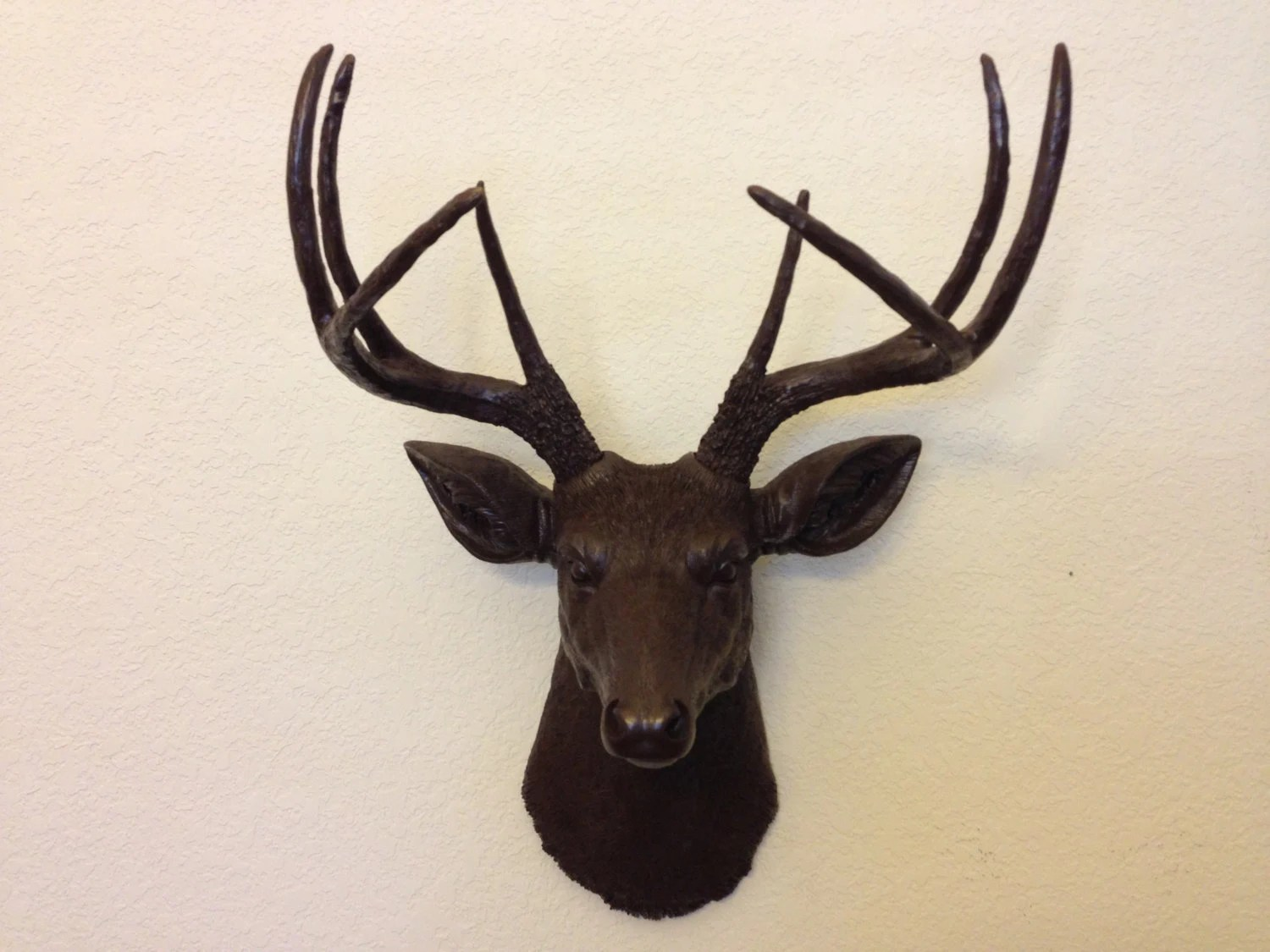 Faux Stag Head Faux Deer Head Hunting Trophy With Antlers Brown By