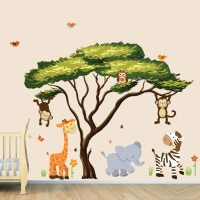 African Tree with Jungle Animals Wall Decal Wall Stickers