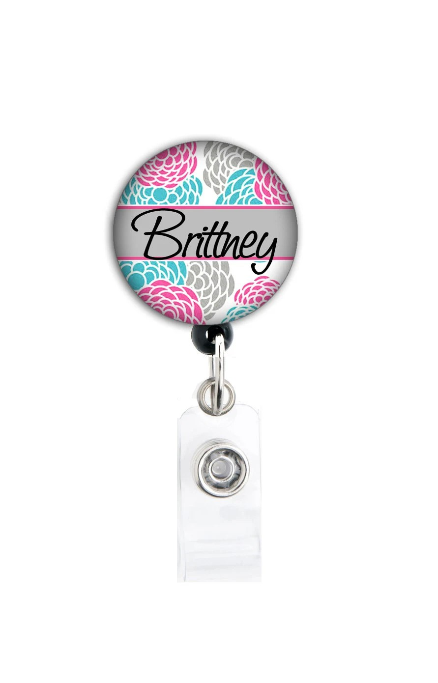 Retractable Id Badge Holder Personalized Name Blossom