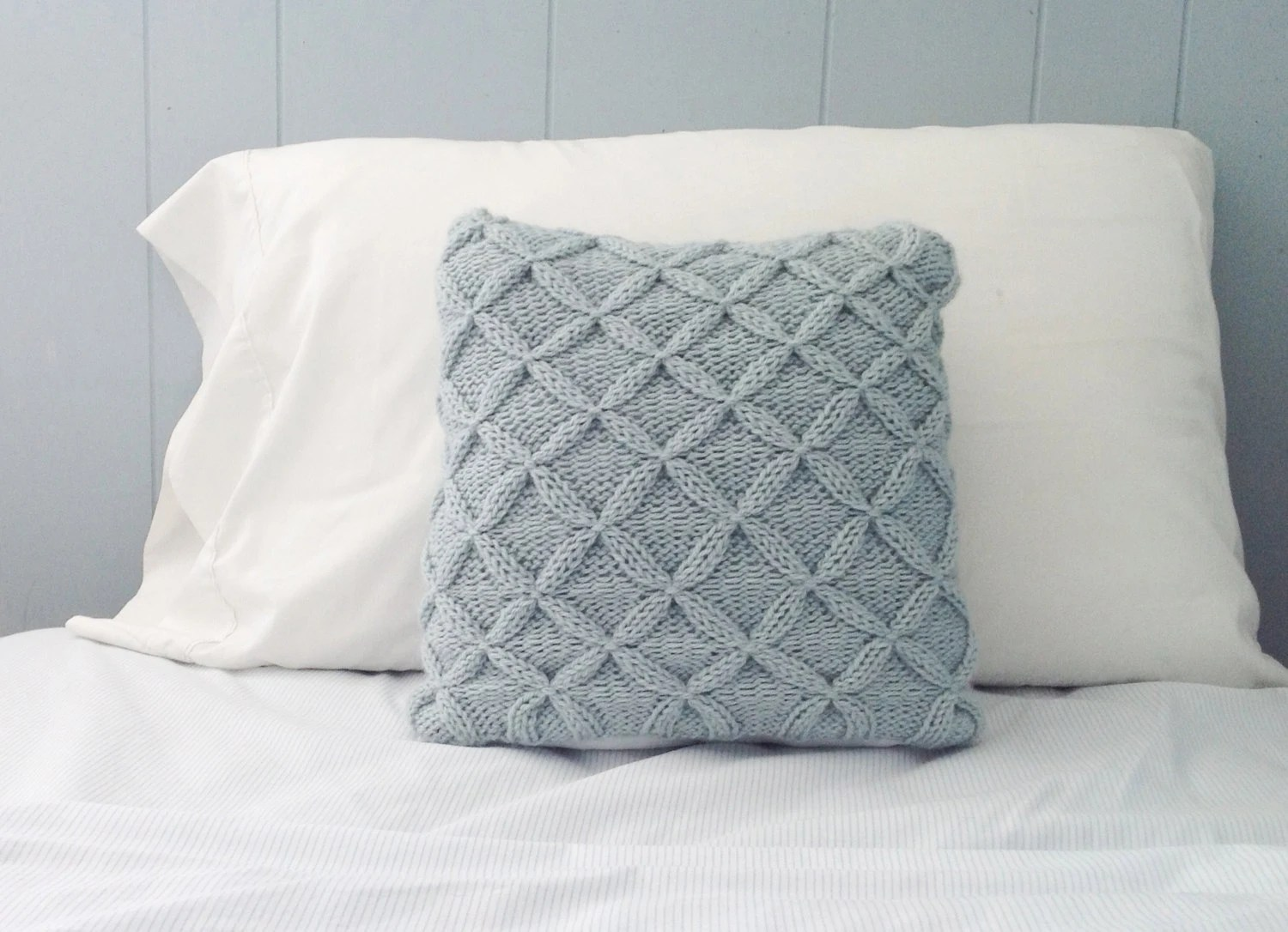 Knit Blue Throw Pillow Decorative Pillow Cable by