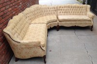 Rare French Provincial Sectional Sofa Tufted Vintage Hollywood