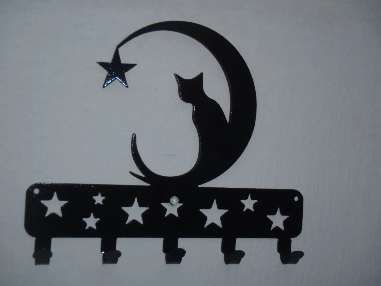 Cat Wall Art Metal Cat On The Moon Key Rack Wall Decor Metal Art
