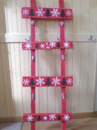 Red Wood Stocking Holder Unique Ladder Rustic Shabby hooks