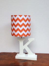 Small Orange/White Chevron Drum Lamp Shade Nursery