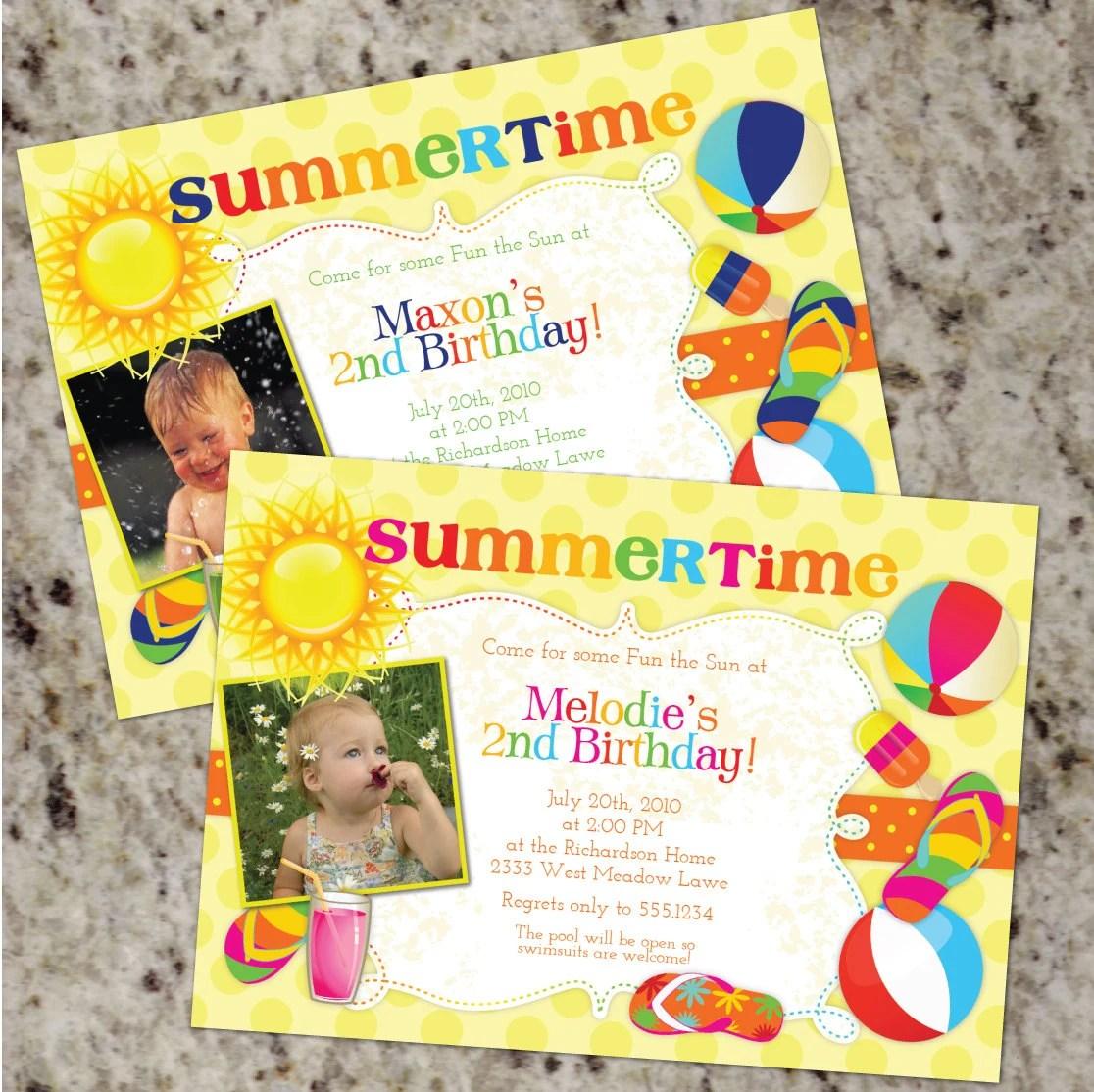 Summer Birthday Party Invitations Bboy Birthday Invitations Girl