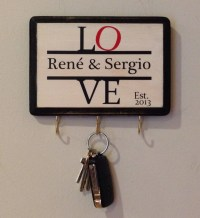 Personalized Love Wall Key holder with Couple's name and