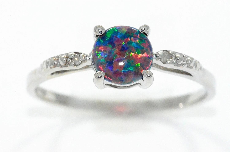 black opal ring opal wedding ring sets Black Opal Diamond Round Ring Sterling Silver Rhodium Finish