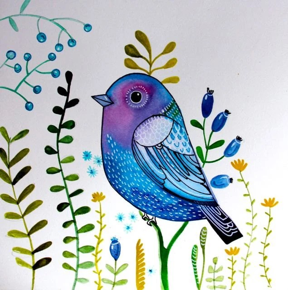 Blue sparrow fantasy bird wall art nursery decor by