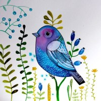 Blue sparrow fantasy bird wall art nursery decor by ...