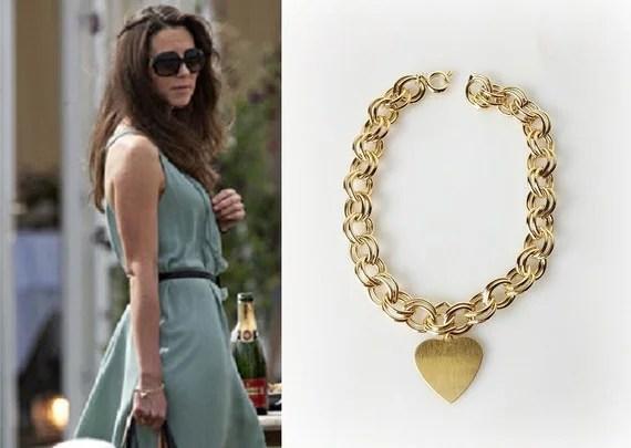 Kate Middleton Gold Heart Charm Link Bracelet By Tudorshoppe