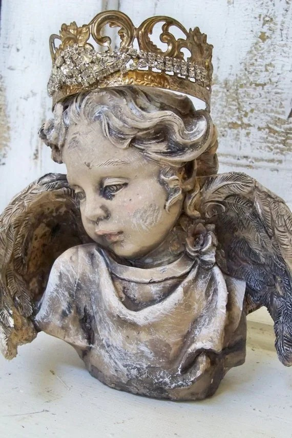 Stroller Video Reviews Cherub Angel Statue Head Fragment With Hand Made Crown