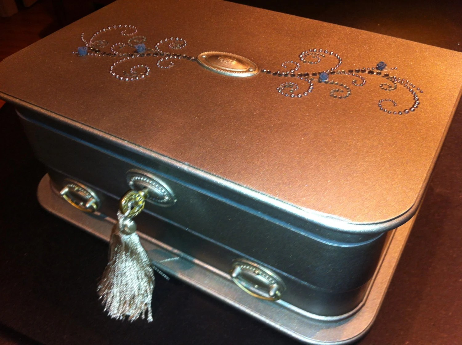 Large Silver Leaf Jewelry Vanity Box With By Reimaginations