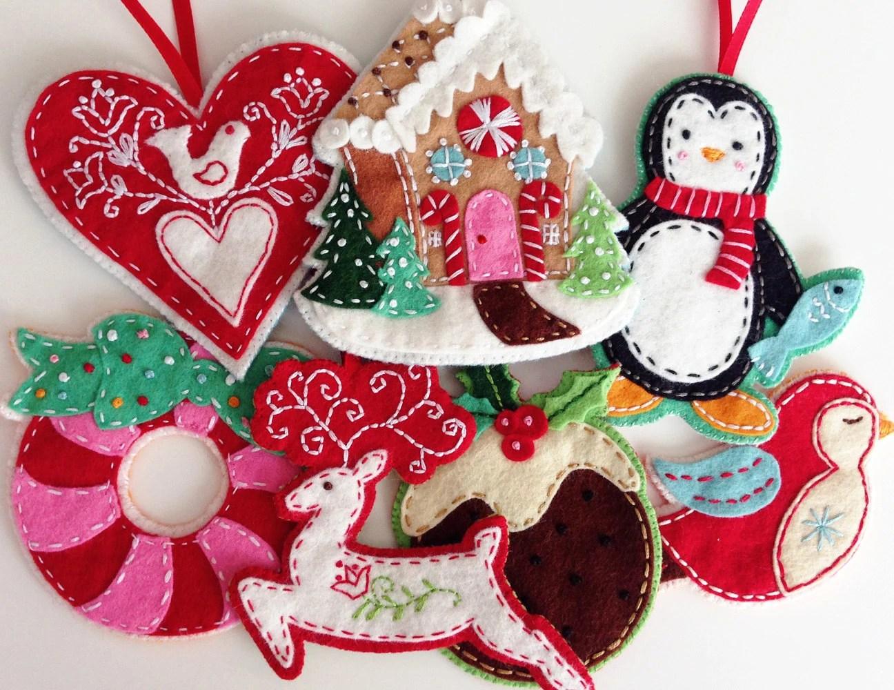 Nordic Felt Christmas Ornament Pattern Set Digital Download - felt christmas decorations