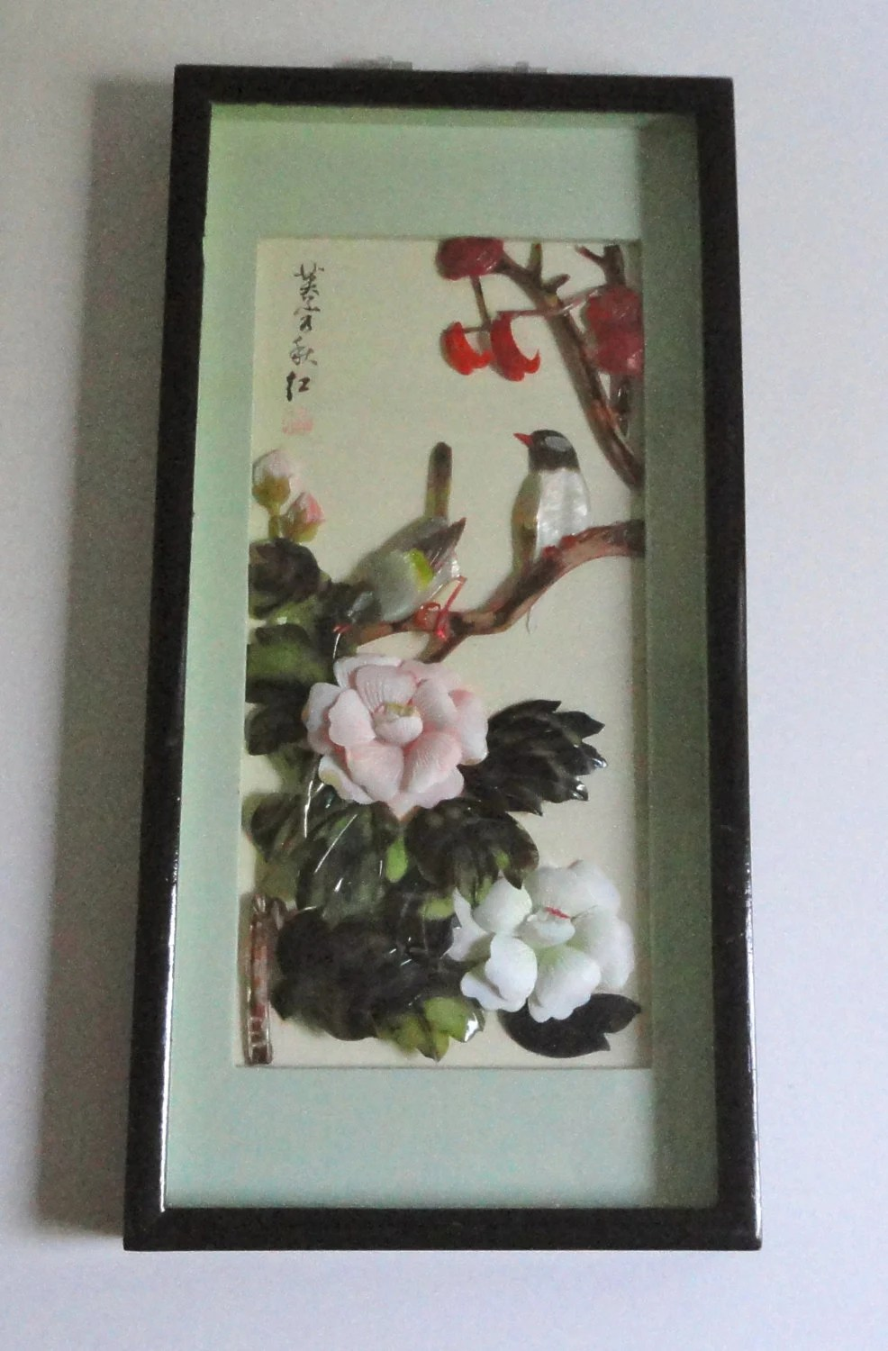 Vintage Asian Shell Art 3d Shadow Box Mother Of Pearl