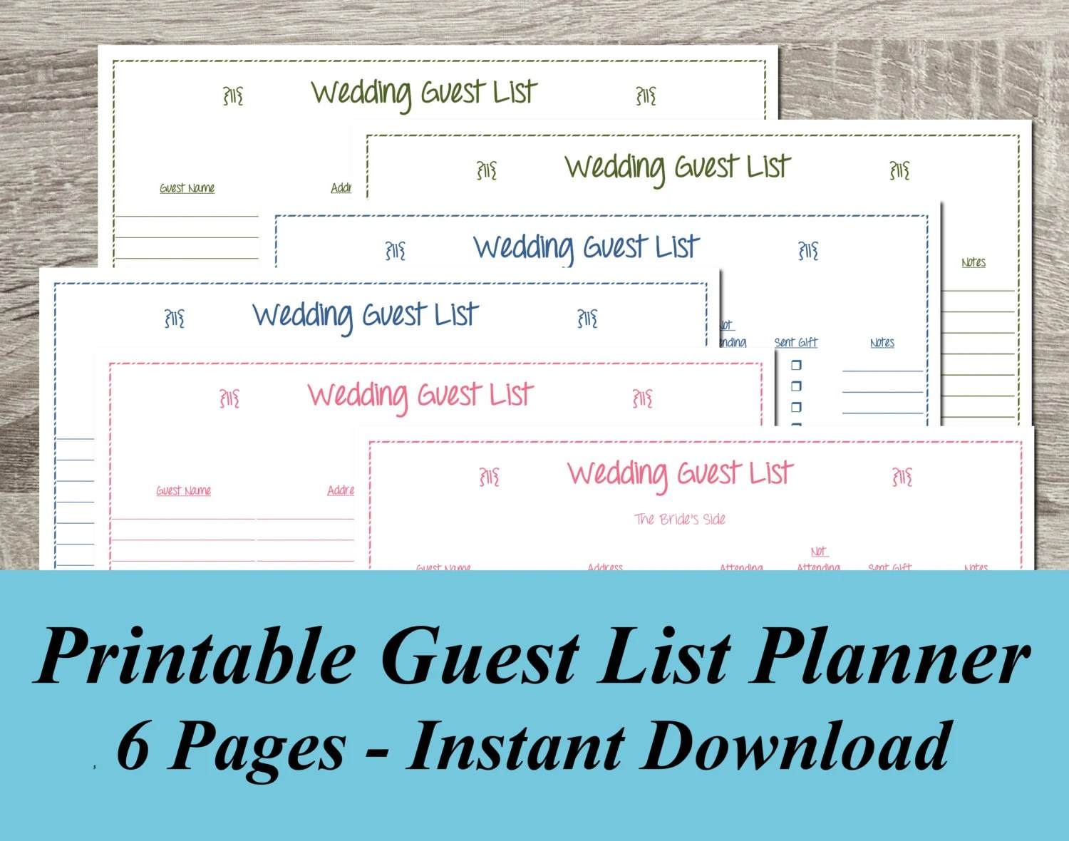 INSTANT DOWNLOAD Wedding Guest List PDF Wedding Planning - 6 Pages - free printable guest list