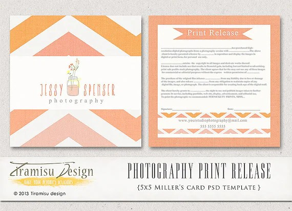 Photography Print Release 5x5 Template INSTANT DOWNLOAD - sample print release form example